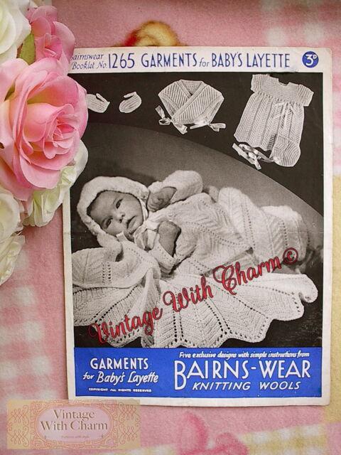 Vintage Knitting Pattern 1940s Babys Layette Stunning Shawl Dress
