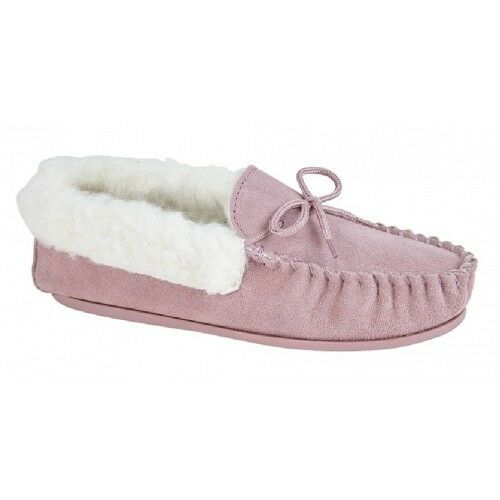 Mokkers EMILY Leather Moccasin Slipper Real Wool Lining Pink Real Suede