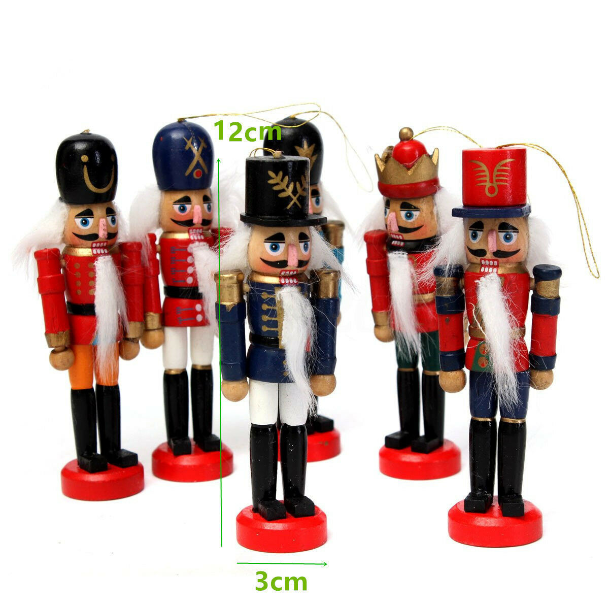 6pcs 12cm Wooden Nutcracker Puppet Toy Solider Handcraft Christmas ...