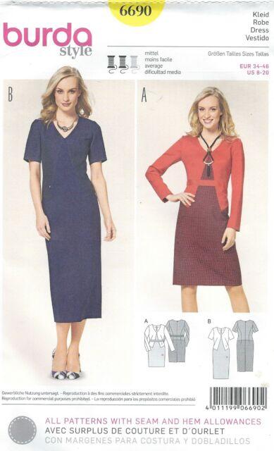 Burda Sewing Pattern 6690 Jacketed Dress 8-20 Uncut | eBay