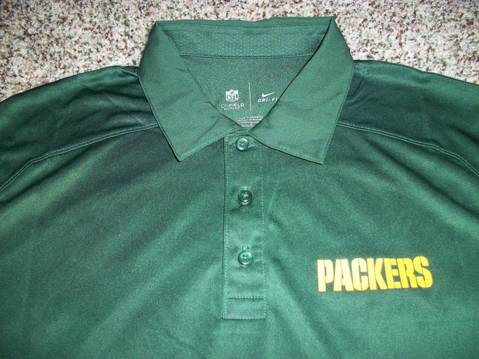 Green Bay Packers Mens Nike Dri Fit Polo Shirt Short Sleeve Medium