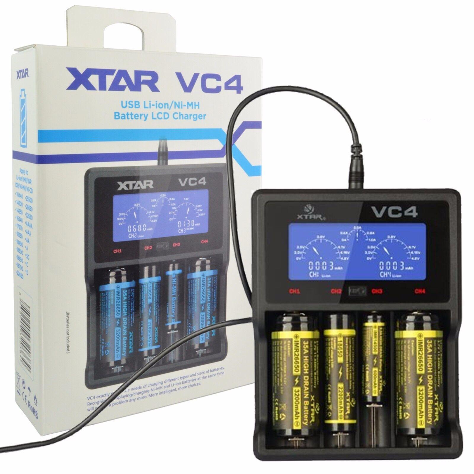 Xtar Battery Chargers For Sale Ebay Charger 1 Slot Baterai Vape Vc4 Usb Lcd Display Li Ion Ni Mh 14500 18650 26650 Aa