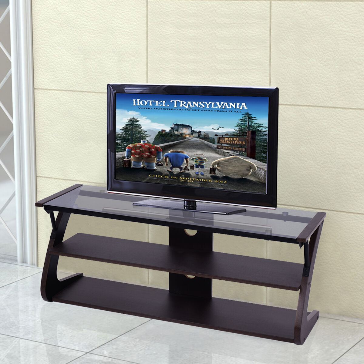 Glass Tv Stand Ebay # Meuble Tv Avec Support Tv