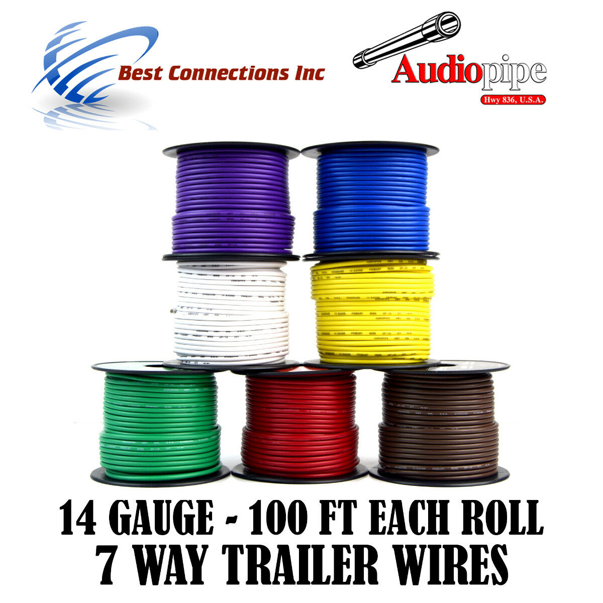 Trailer Light Cable Wiring for Harness 100ft Spools 14 Gauge 7 ...