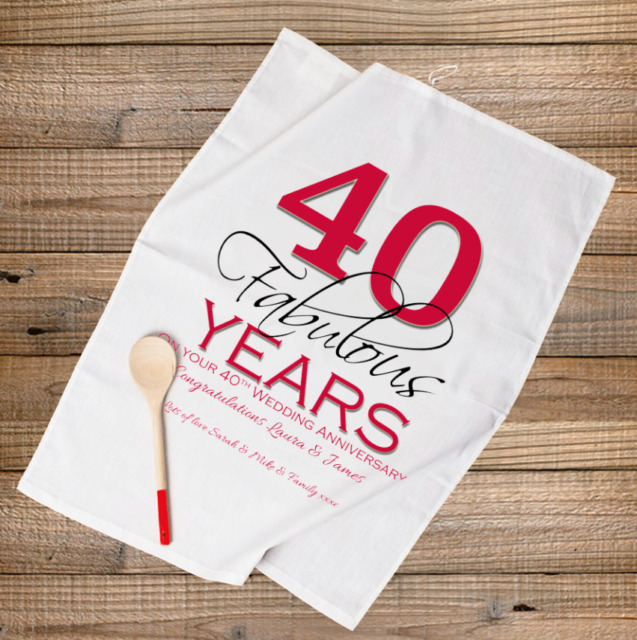 PERSONALISED TEA TOWEL RUBY 40th WEDDING ANNIVERSARY GIFT 40 Fabulous Years
