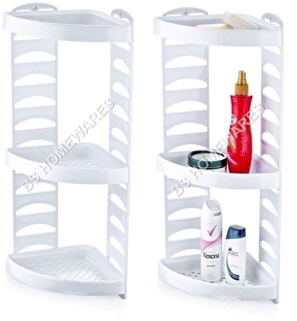 Plastic Corner Shower Caddy 3 Tier Bath Storage Shelf Rack Organiser ...