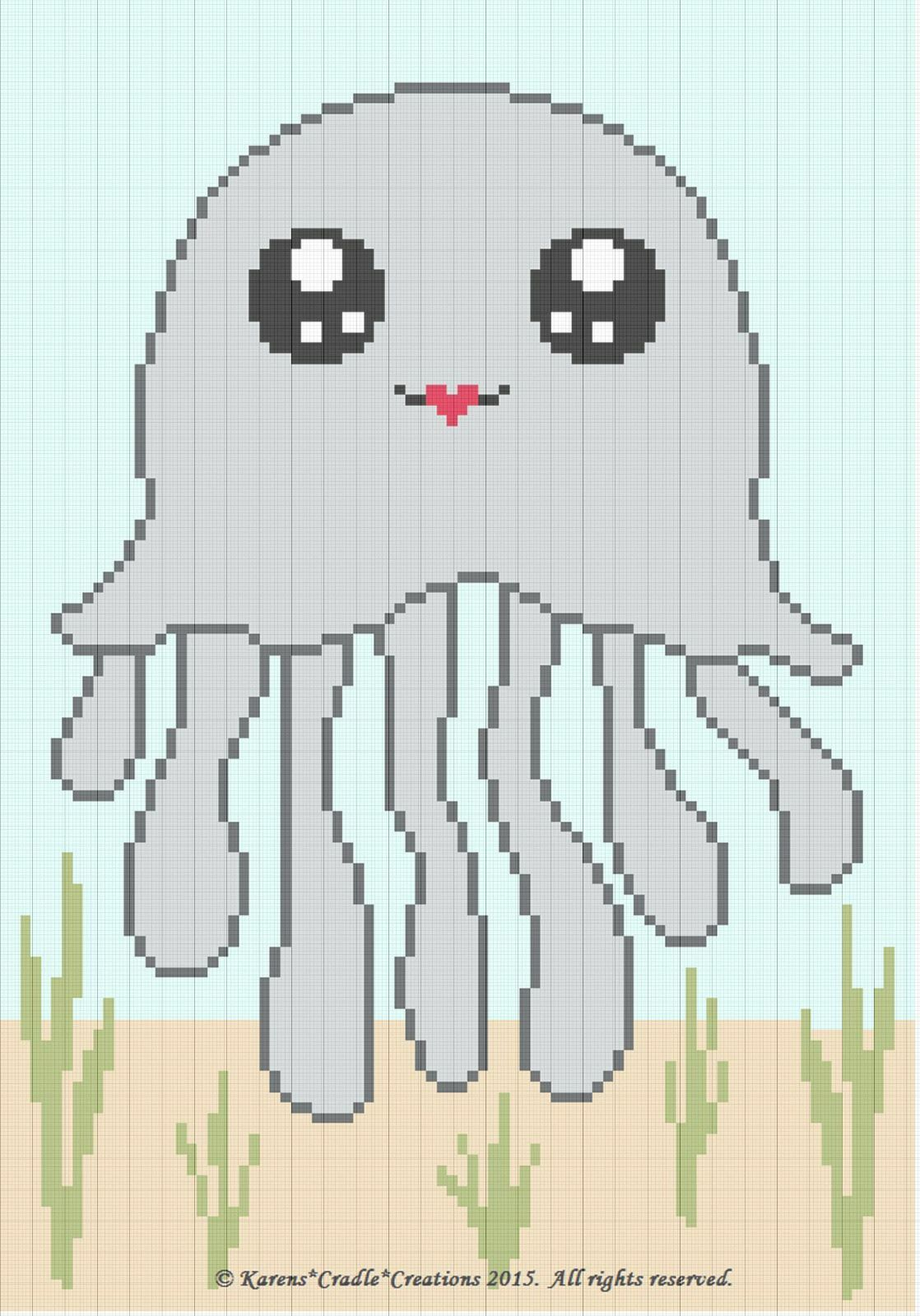 Crochet Patterns - Octopus Sea Life Color Graph Baby Afghan Pattern ...