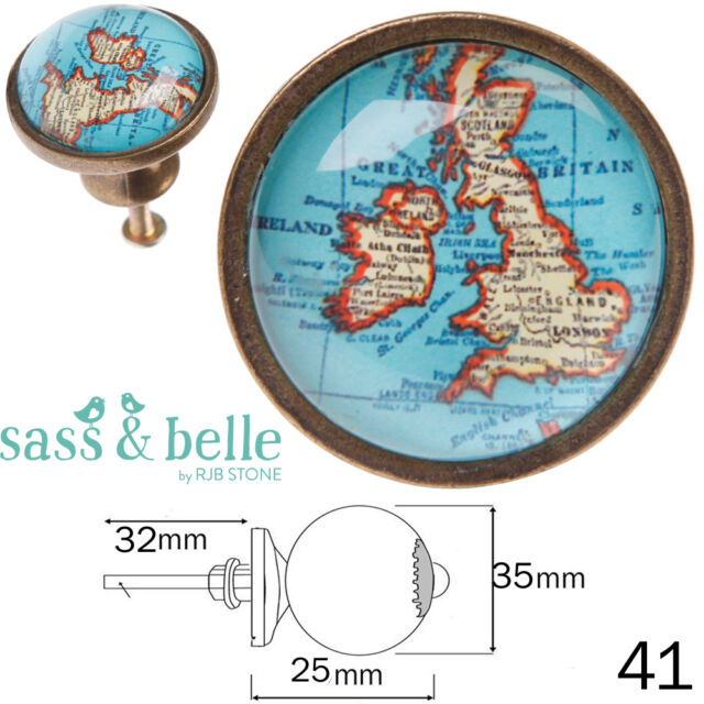 map on door sass belle vintage style map metal glass antique brass drawer