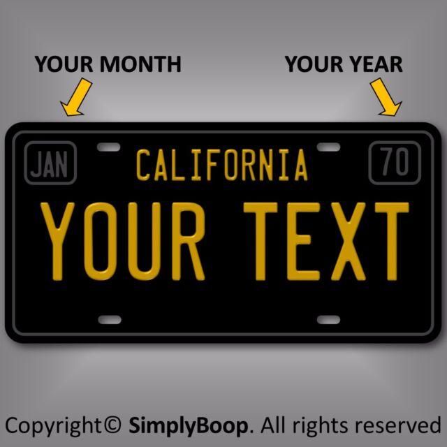Arizona Personalized Plates >> California Black Your Text Personalized Custom Aluminum License Plate Tag | eBay