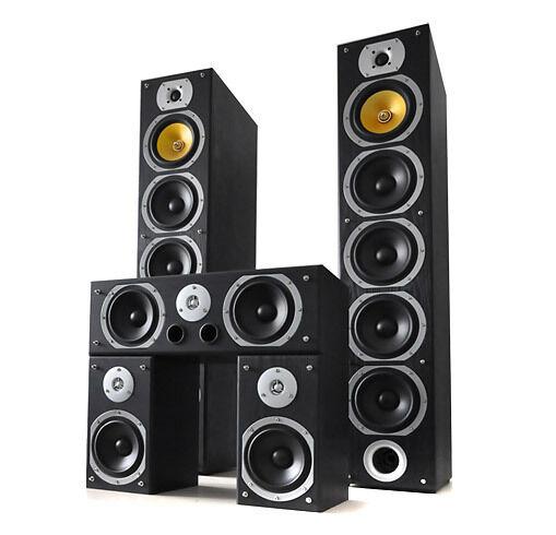 Pack 5 enceintes home cinema surround système 5.0 hifi stereo 4 voies 1240w max