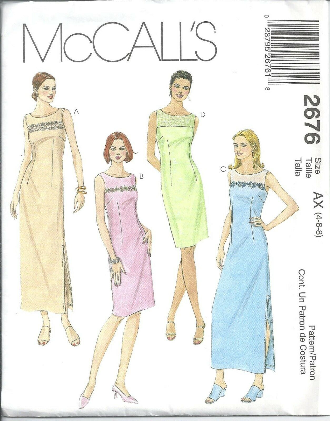 2676 Sewing Pattern Mccall\'s Ladies Dress Darts Evening Gown 4 6 8 ...
