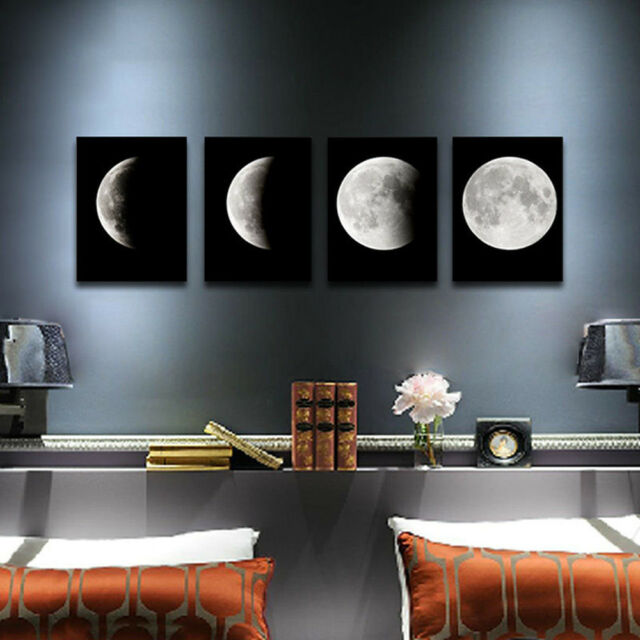 Canvas Print Wall Art Painting Pictures Home Decor Poster Abstract Moon Unframed