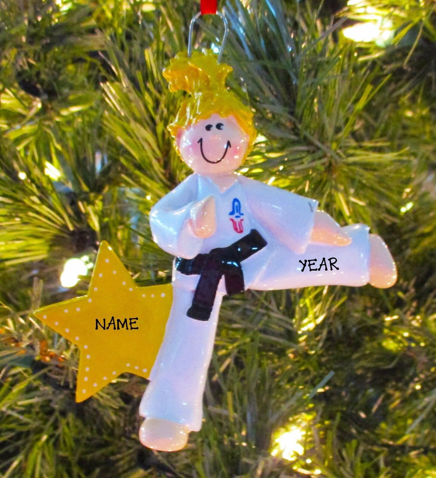 Karate girl blonde personalize it yourself christmas tree ornament picture 1 of 4 solutioingenieria Choice Image