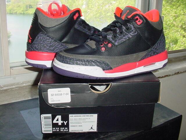 Nike Air Jordan III 3 Retro GS Black Bright Crimson Canyon Purple v x  398614 005