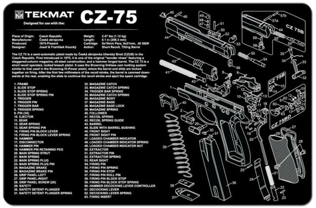 Cz 75 Armorers Gun Cleaning Bench Mat Exploded View