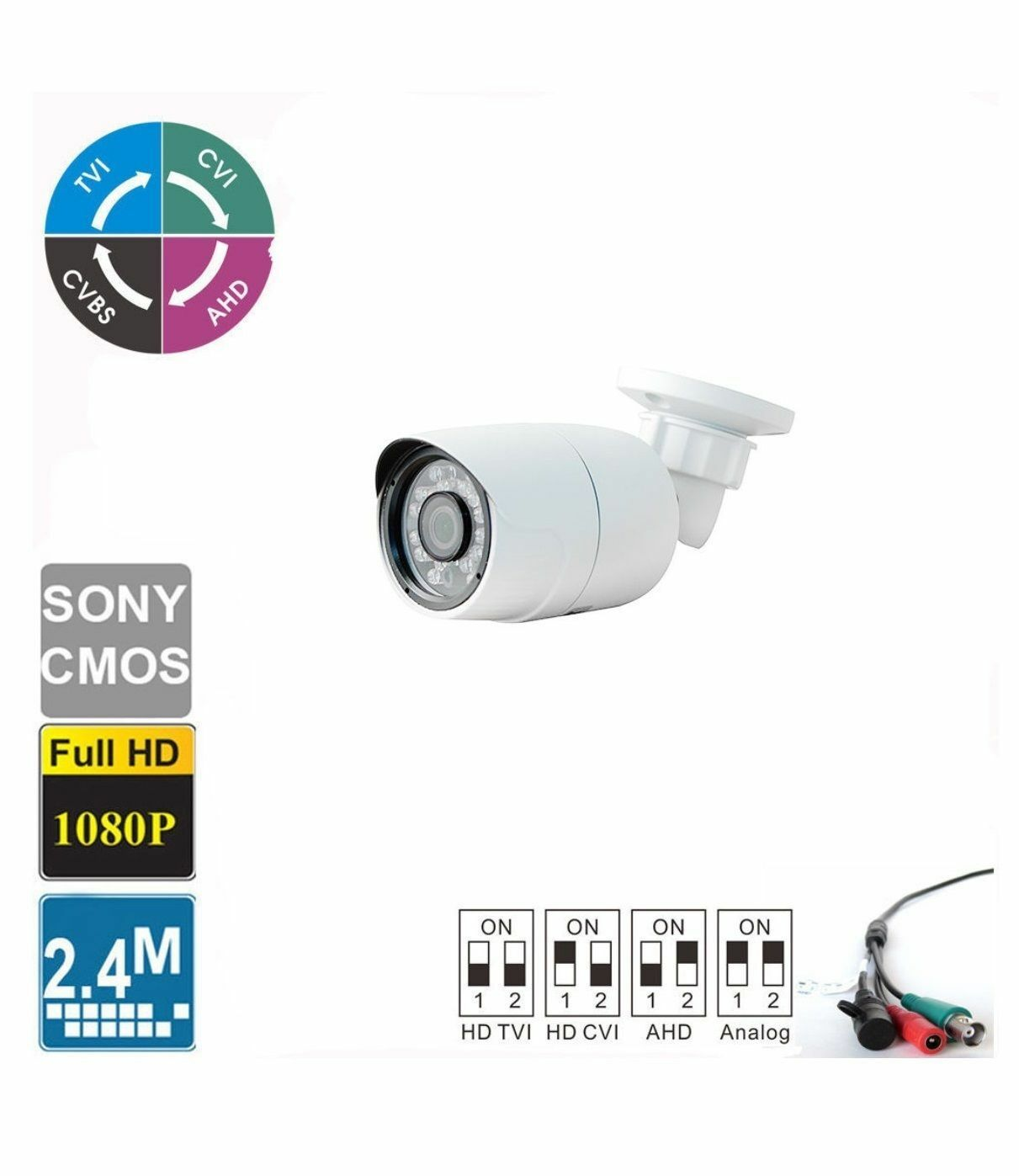 HD-CVI 2.4MP 1080P HD-TVI HD-AHD Analog Dome Camera Sony CMOS 4 IN 1 Camera