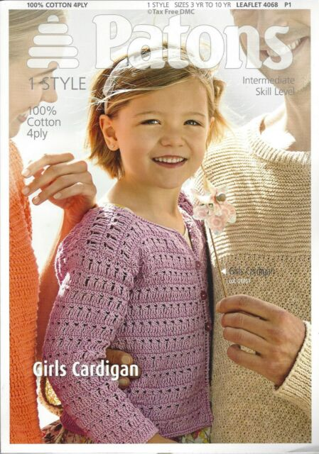 Patons Girls Cardigan 100 Cotton 4ply Crochet Pattern Ages 3 10yrs