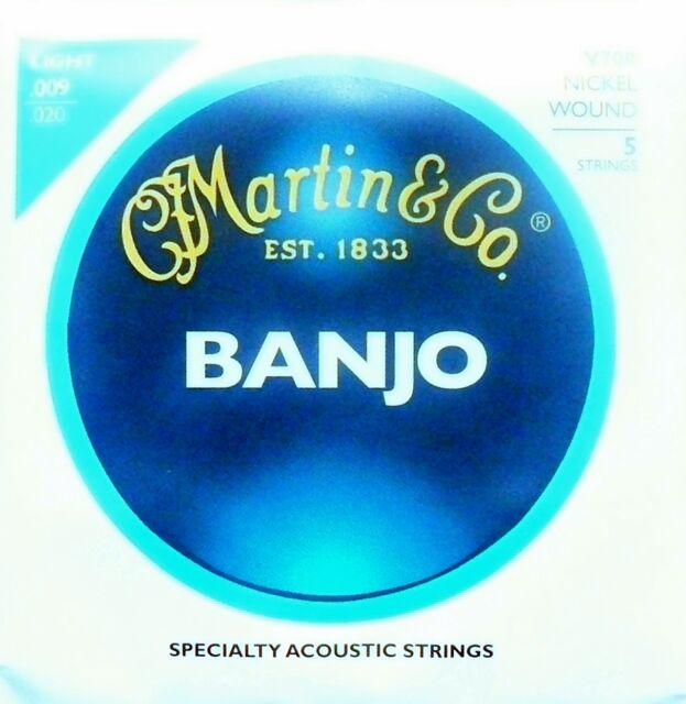 Martin Vega Banjo Strings 5 string set Light or Medium