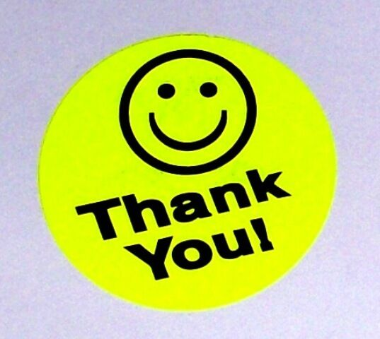 500 big thank you smiley label sticker round circle 1 5 1 1 2 best price