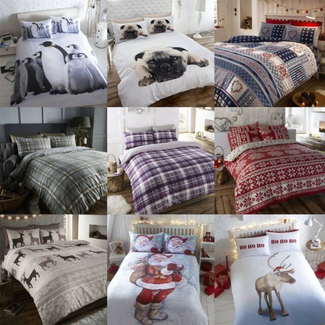 100 Brushed Cotton Flannelette Thermal Winter Hygge Christmas Duvet Cover Set