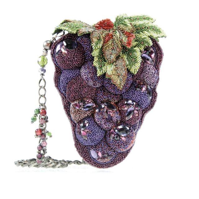Mary Frances Handbag Merlot Purple Bunch Gs Wine Beaded Jeweled Shoulder Bag