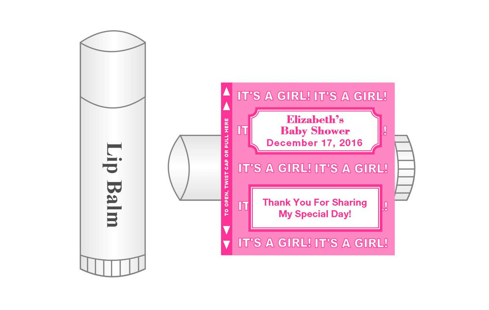 20 Personalized Lip Balm Glossy Baby Shower It\'s a Girl Favor Labels ...