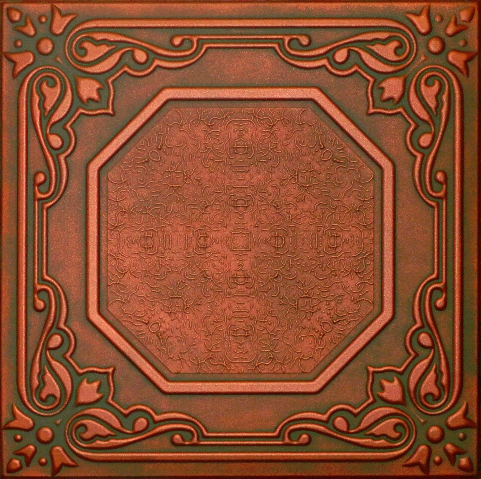 Texture ceiling tiles easy glue up r32cp copper patina ebay picture 1 of 3 dailygadgetfo Gallery