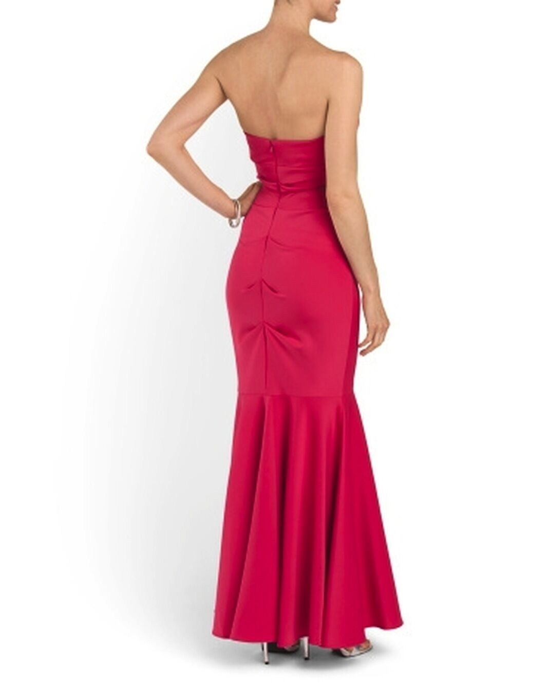 Xscape Fuschia Pink Strapless Ruched Mermaid Maxi Long Gown Xs5885c ...