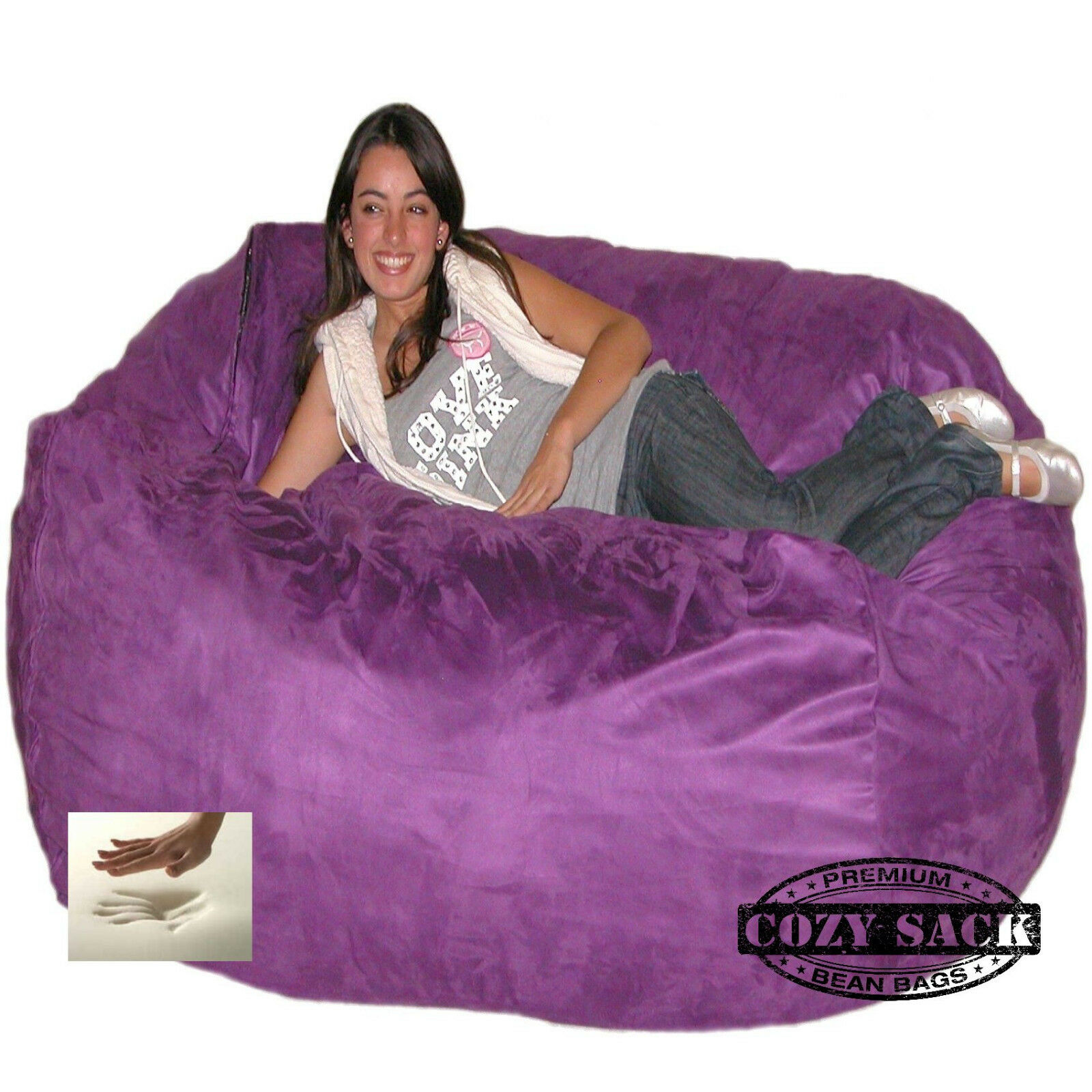 HUGE Bean Bag Chair Factory Direct Cozy Sack 6 Foam Filled Purple
