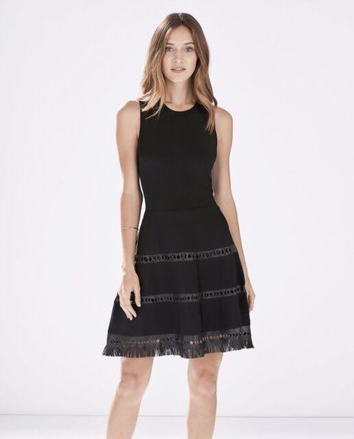 Parker 2741 Womens Serene Black Leather Trim Fringe Cocktail Dress ...