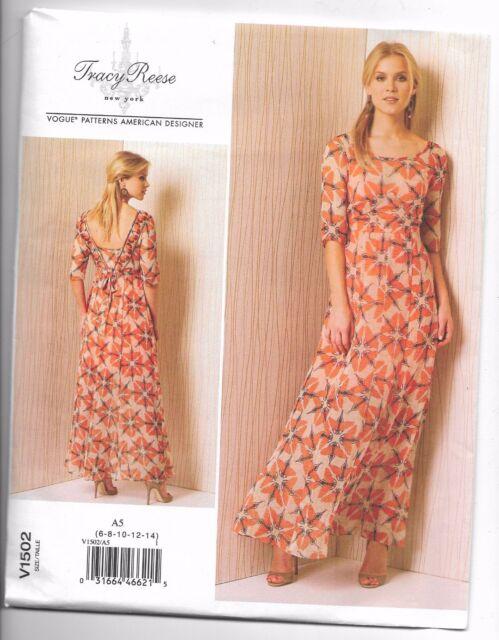 Vogue V1502 6-14 Sewing Pattern Ladies V Back Empire Waist Long ...
