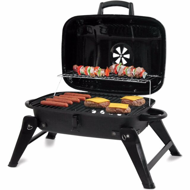 backyard grill 278 sq in portable charcoal grill black ebay. Black Bedroom Furniture Sets. Home Design Ideas