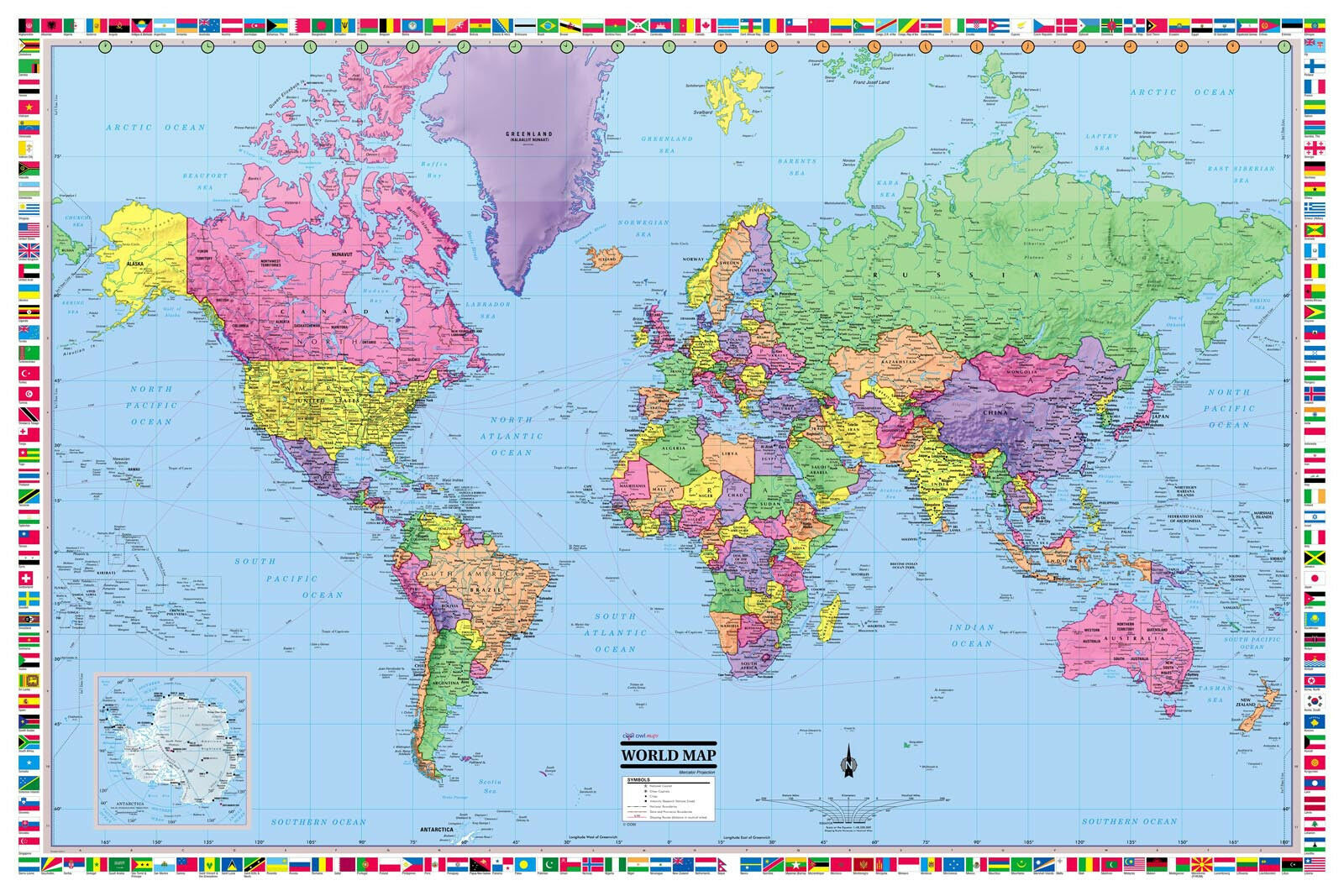 Coolowlmaps world wall map political with flags poster 36x24 rolled picture 1 of 6 gumiabroncs Images
