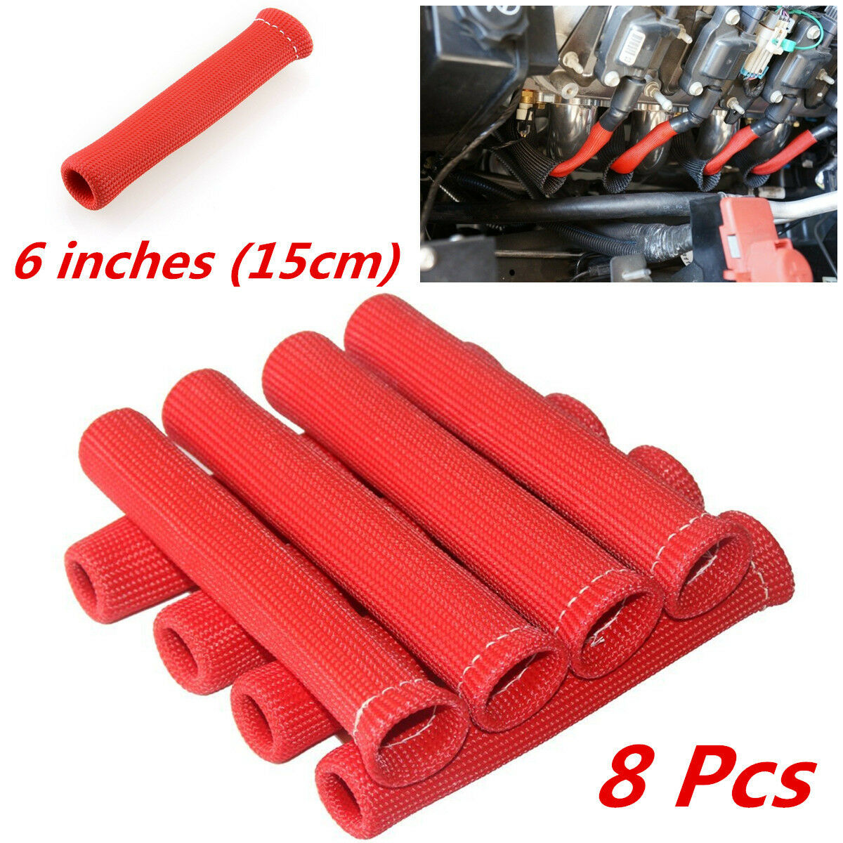 8pc Red 1200° Spark Plug Wire Protector Cover Heat Shield Sleeve ...