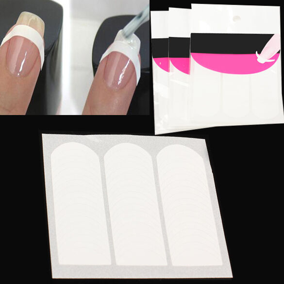 3 X French Strip Nail Art Form Fringe Guides Sticker Diy Line Tips