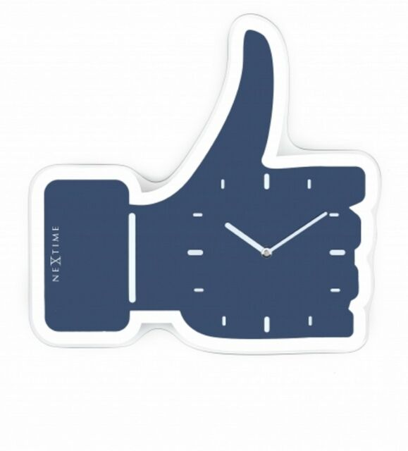 Wanduhr Nextime Uhr Blue Thumbs Up ca.40,5 x 41,5 cm Glas Glasuhr Designeruhr