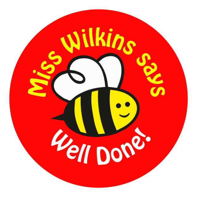 80 personalised teacher reward stickers for pupils well done bee red