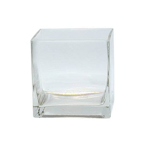 6pc Case Clear Square Glass Vase Cube Lot 5 Inch 5x5x5 Centerpiece Candle  Holder
