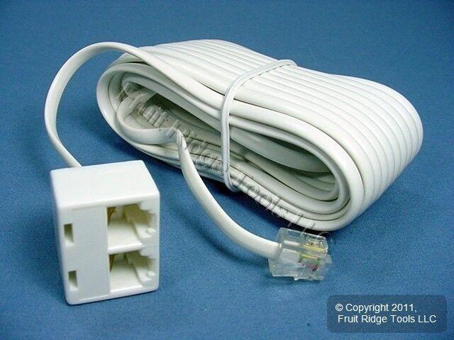 White 25\' Duplex Telephone Extension Cord 4w Phone Line   eBay