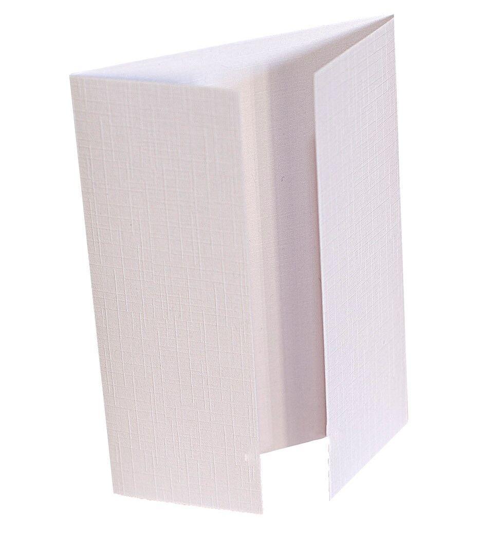 50 Linen White Gatefold A6 Blank Greeting Cards Plain C6 Envelopes