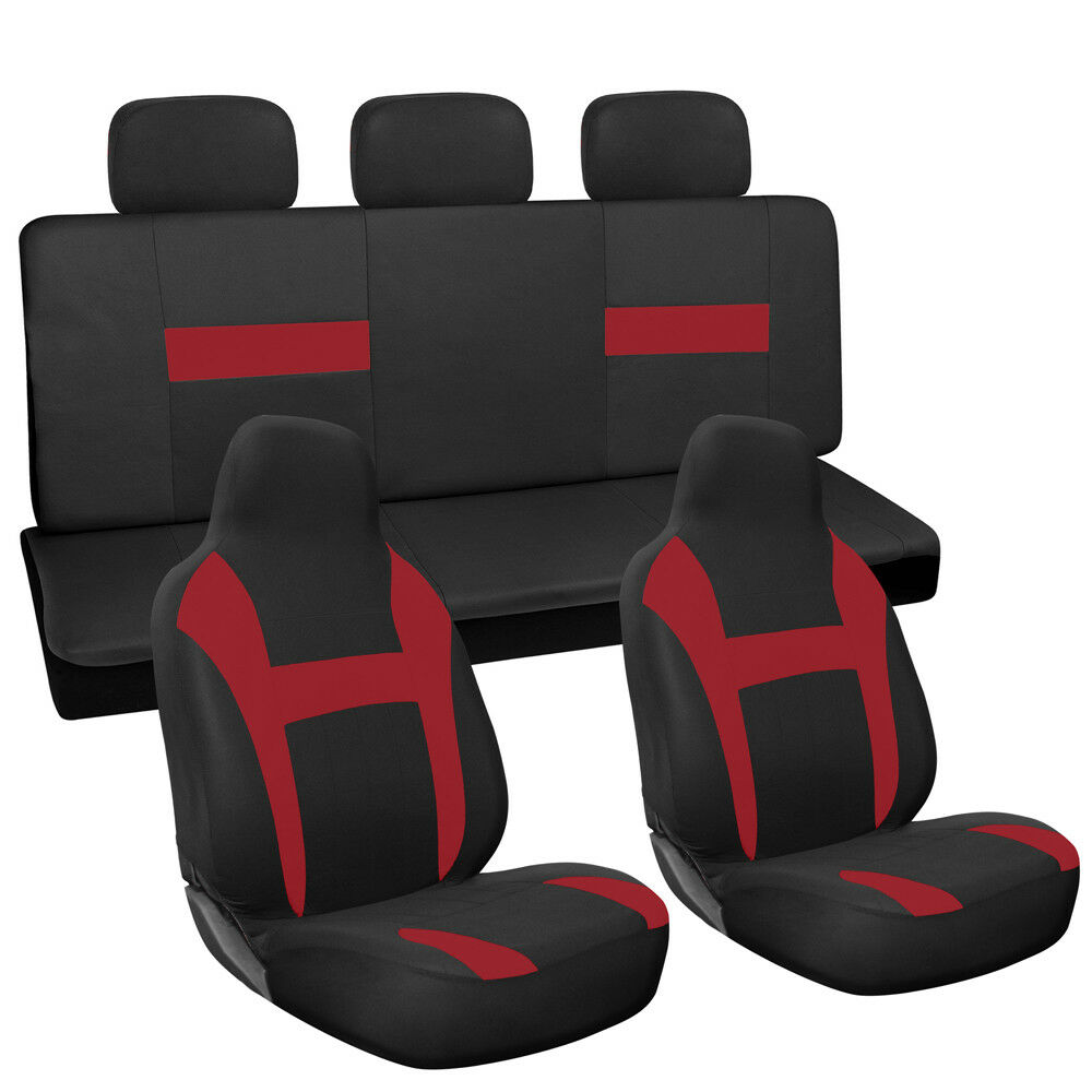 10pc Full Set Red Black Integrated Chair Bench Truck High Back Car ...