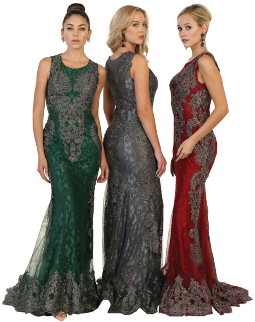 DESIGNER Beauty Pageant Embroidered Red Carpet Dresses Prom Formal ...