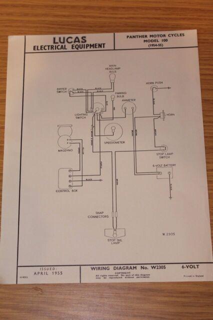 Panther Model 100 Motor Cycles 195455 Lucas Wiring Diagram April – Lucas Wiring-diagram