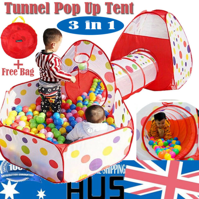 3 in 1 Play Tent Kids Toddlers Tunnel Set Pop Up Children Baby Cubby Playhouse  sc 1 st  eBay & 3 in 1 Play Tent Kids Toddlers Tunnel Set Pop up Children Baby ...