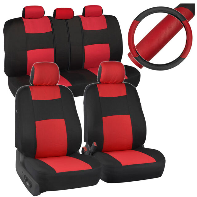 Black/red Car Seat Covers for Auto W/ 2 Tone PU Leather Steering ...