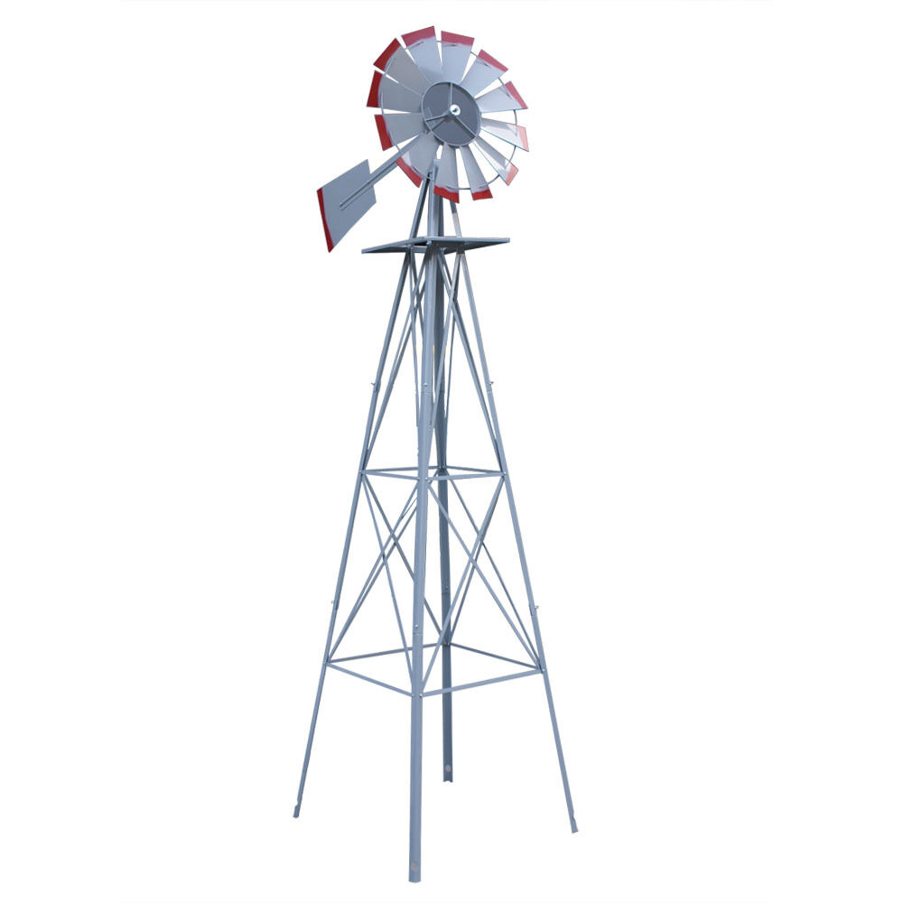 8ft. Ornamental Garden Windmill   Galvanized With Red Tips 8ft | EBay