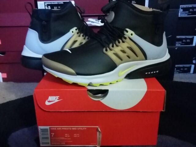 Nike Air Presto Mid Utility Sneaker Boots Winter Black Yellow Streak 859524  002