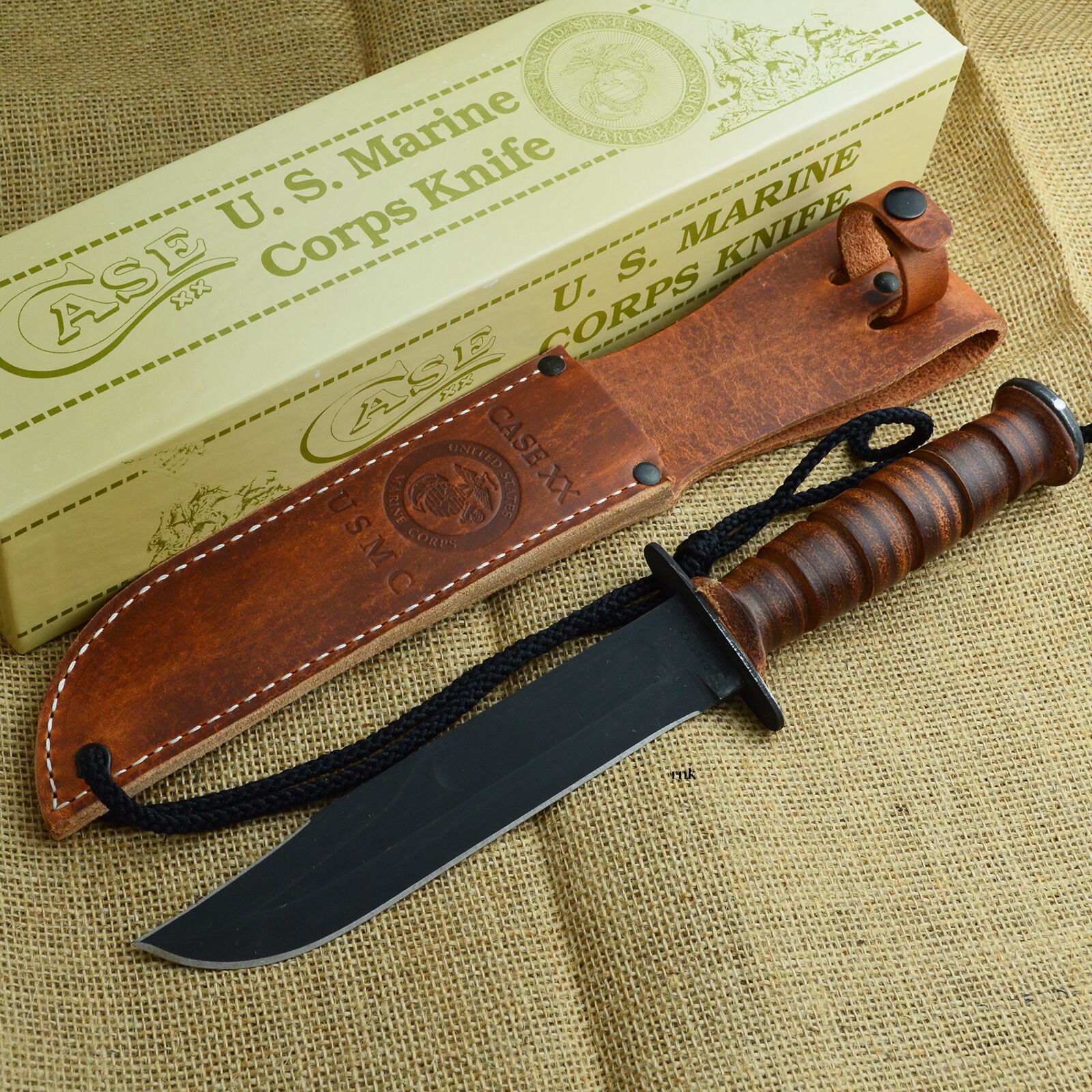 Case XX U s Marine Corps Fixed Blade bat Knife Leather Handle