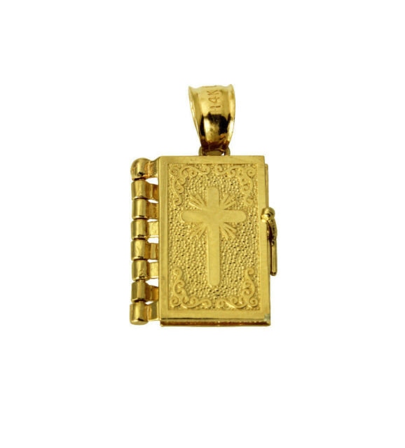 14k yellow gold holy bible lords prayer charm pendant ebay 14k real yellow gold small holy bible lords prayer open close charm pendant mozeypictures Image collections