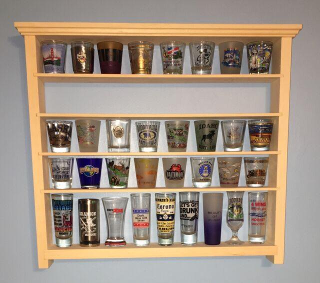 40 Shot Glass Wall Shelf Display Case Knick Knack Rack Solid Pine Ready 2  Finish